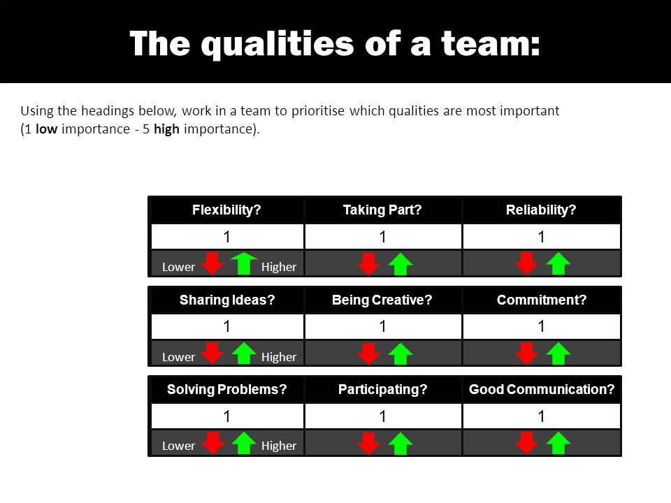 Using the headings below, work in a team to prioritise which qualities are most important (1 low importance - 5 high importance).