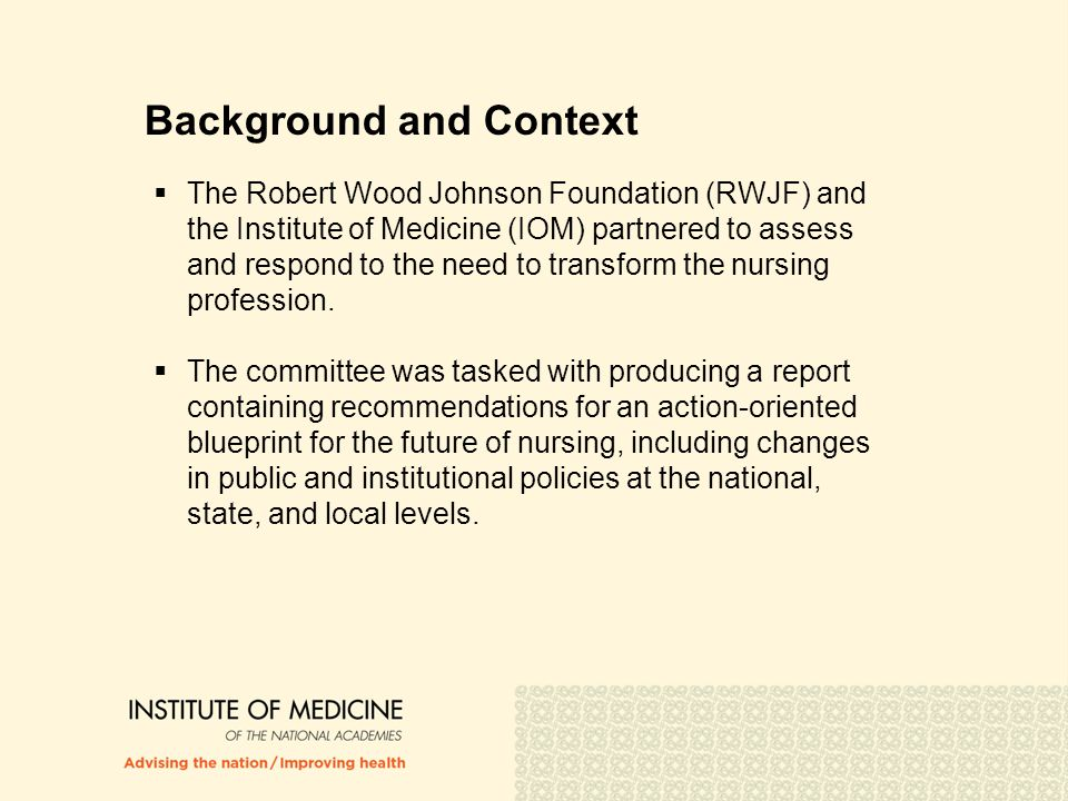 Committee Task An ad hoc committee will examine the capacity of the nursing workforce to meet the demands of a reformed health care and public health system.