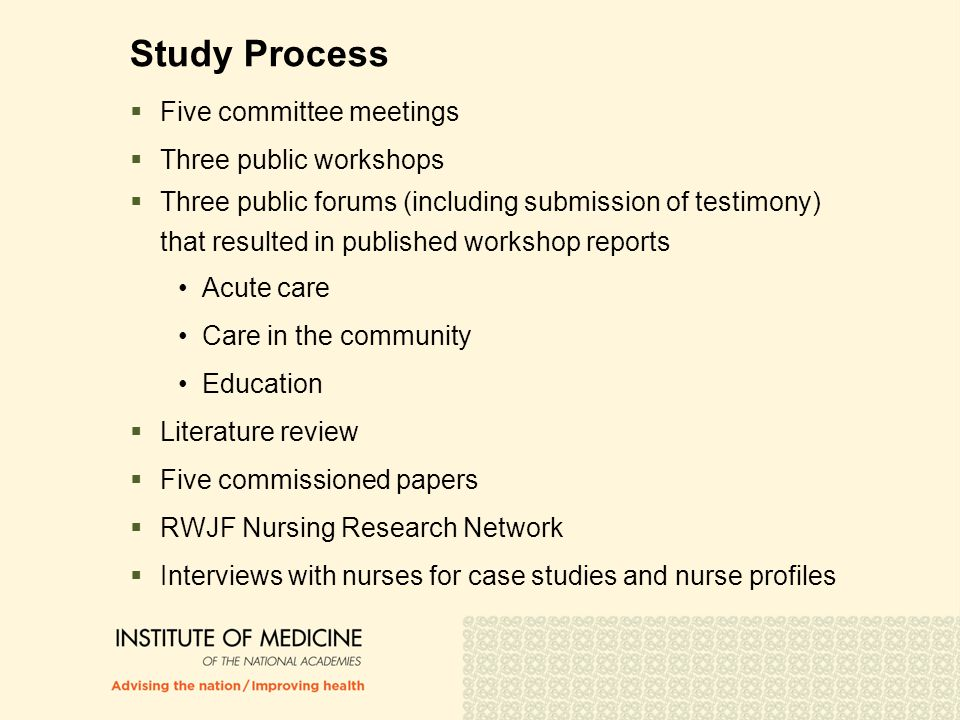 Study Process  Five committee meetings  Three public workshops  Three public forums (including submission of testimony) that resulted in published