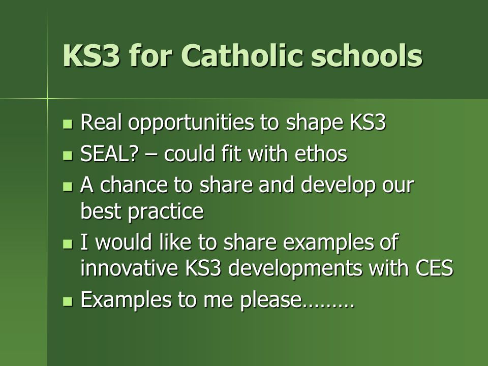 KS3 for Catholic schools Real opportunities to shape KS3 Real opportunities to shape KS3 SEAL.