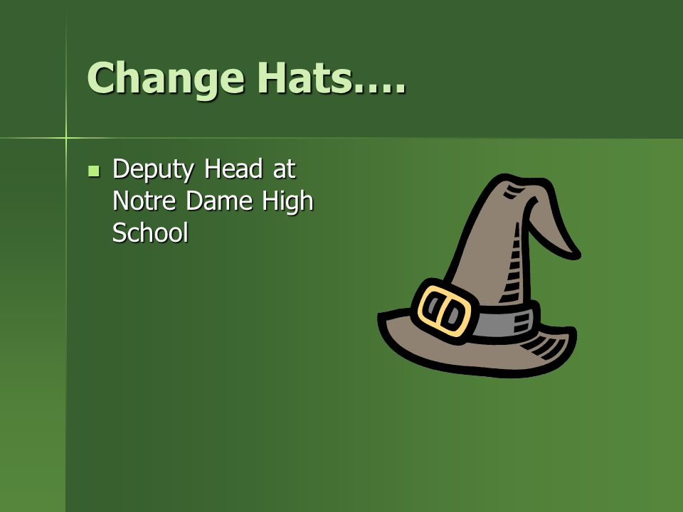 Change Hats…. Deputy Head at Notre Dame High School Deputy Head at Notre Dame High School