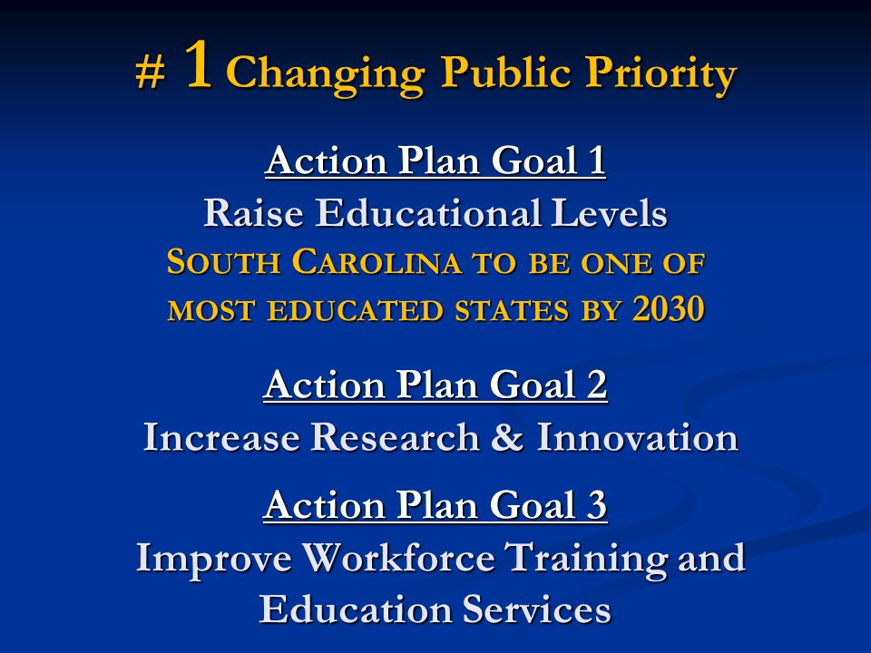 Action Plan Goal 1 Raise Educational Levels S OUTH C AROLINA TO BE ONE OF MOST EDUCATED STATES BY 2030 Action Plan Goal 2 Increase Research & Innovation Action Plan Goal 3 Improve Workforce Training and Education Services # 1 Changing Public Priority