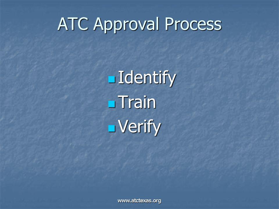 www.atctexas.org ATC Approval Process Identify Identify Train Train Verify Verify