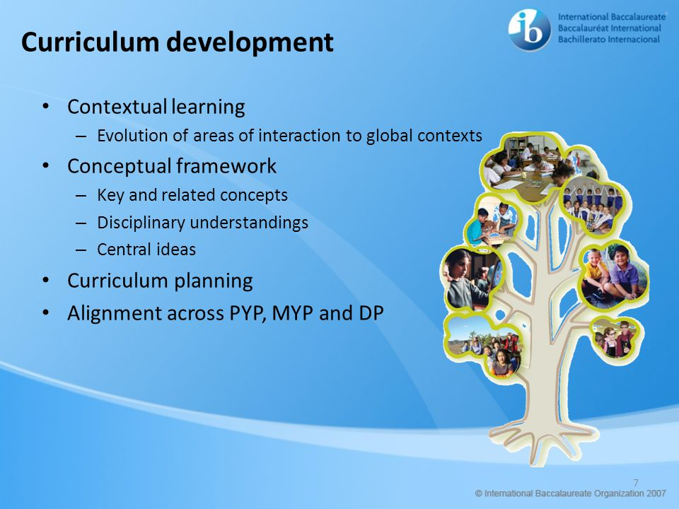 Curriculum development Contextual learning – Evolution of areas of interaction to global contexts Conceptual framework – Key and related concepts – Di