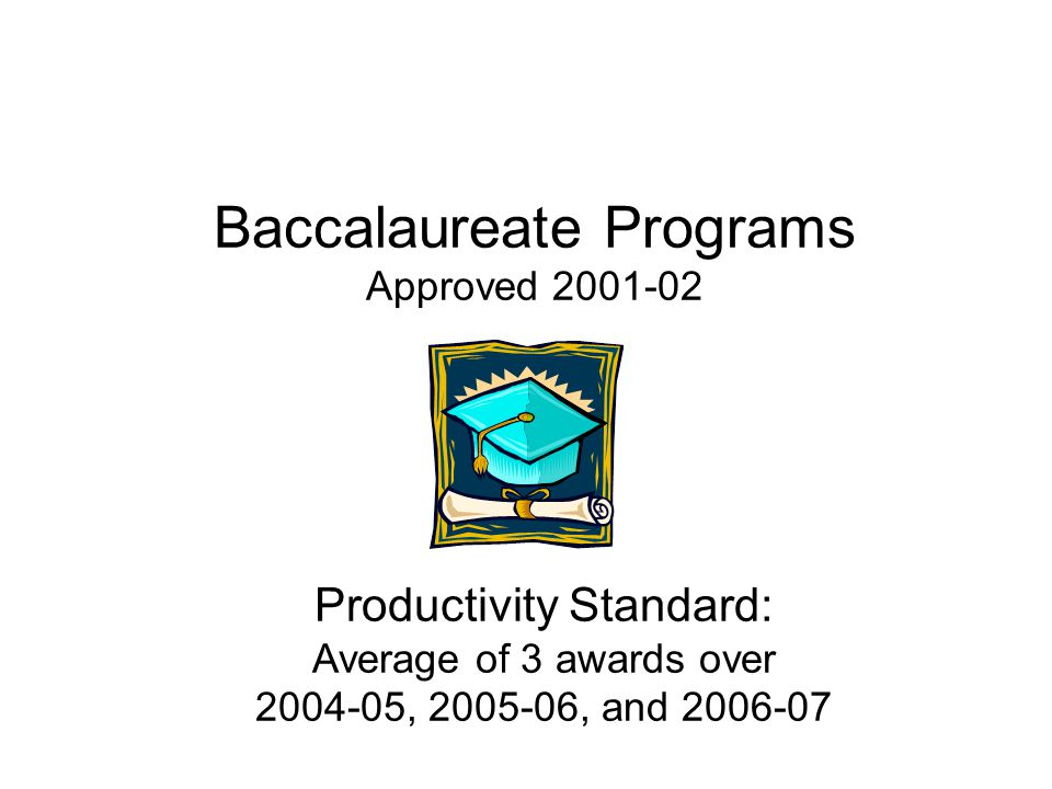 Baccalaureate Programs Approved 2001-02 Productivity Standard: Average of 3 awards over 2004-05, 2005-06, and 2006-07