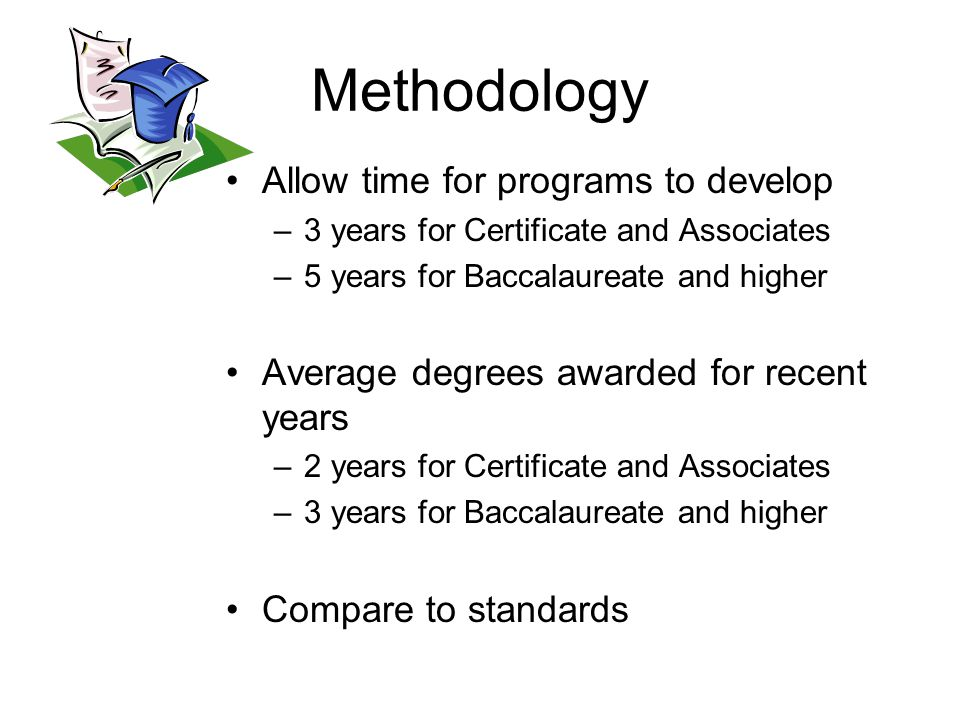 Methodology Allow time for programs to develop –3 years for Certificate and Associates –5 years for Baccalaureate and higher Average degrees awarded for recent years –2 years for Certificate and Associates –3 years for Baccalaureate and higher Compare to standards