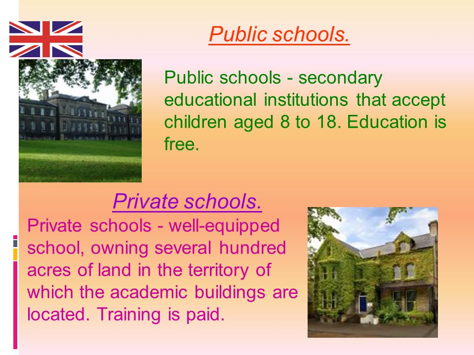 Public schools. Public schools - secondary educational institutions that accept children aged 8 to 18. Education is free. Private schools. Private sch