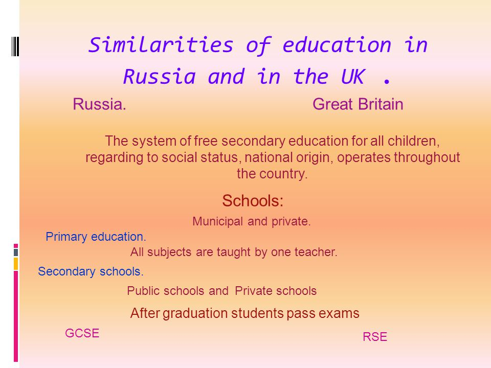 Similarities of education in Russia and in the UK. Russia.Great Britain The system of free secondary education for all children, regarding to social s