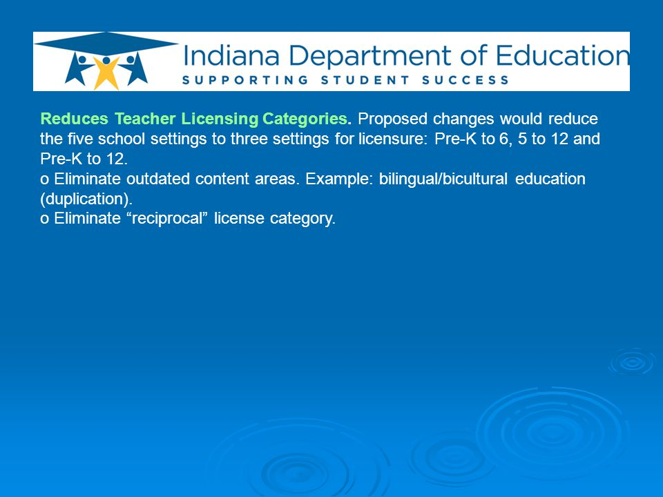 Reduces Teacher Licensing Categories.