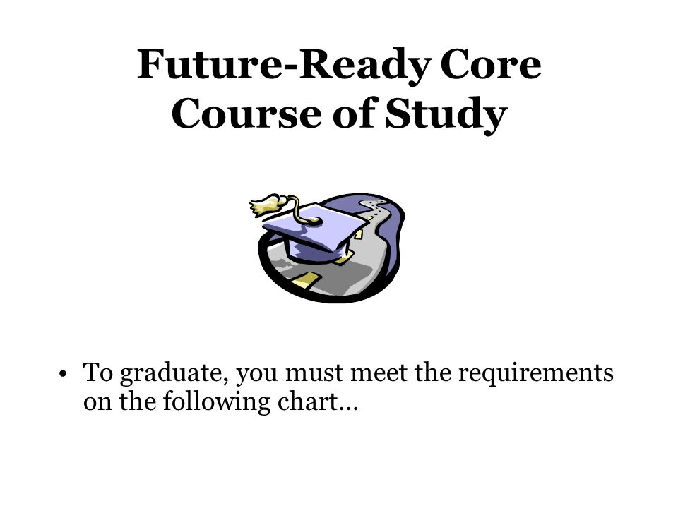 Future-Ready Core Course of Study To graduate, you must meet the requirements on the following chart…