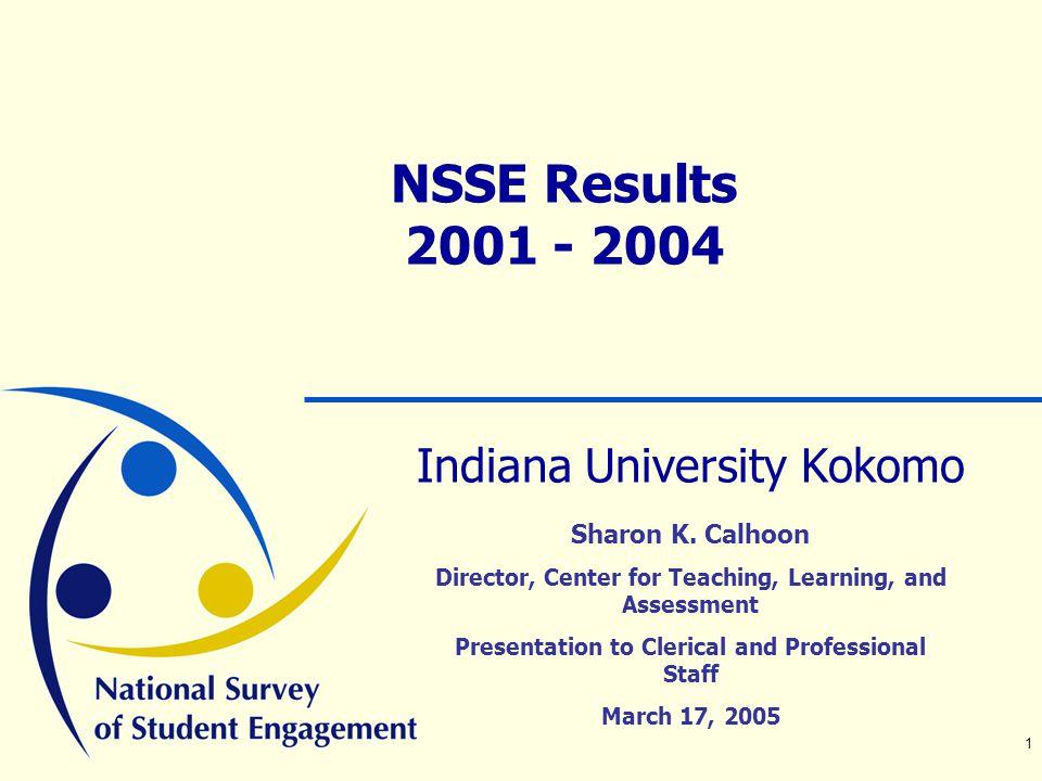 1 NSSE Results 2001 - 2004 Indiana University Kokomo Sharon K.