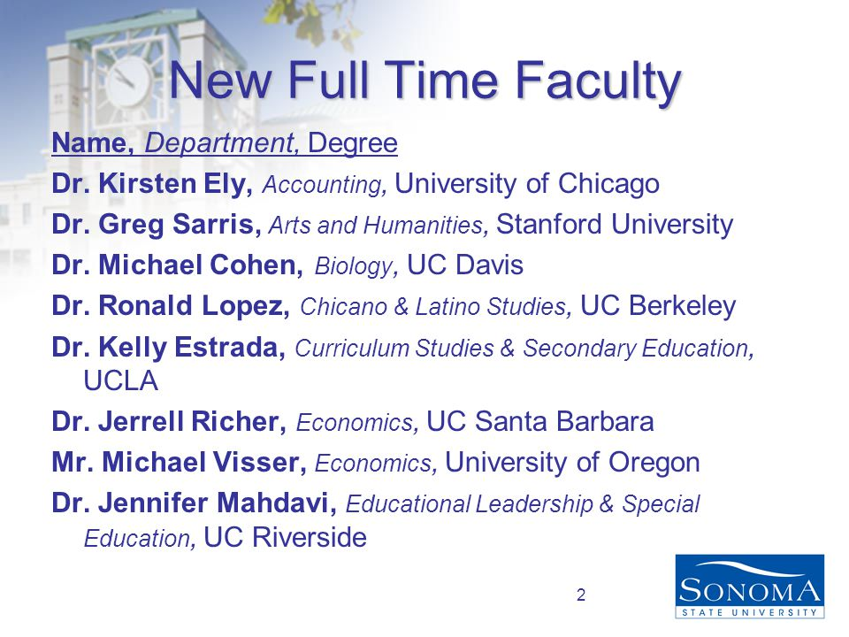 2 New Full Time Faculty Name, Department, Degree Dr.