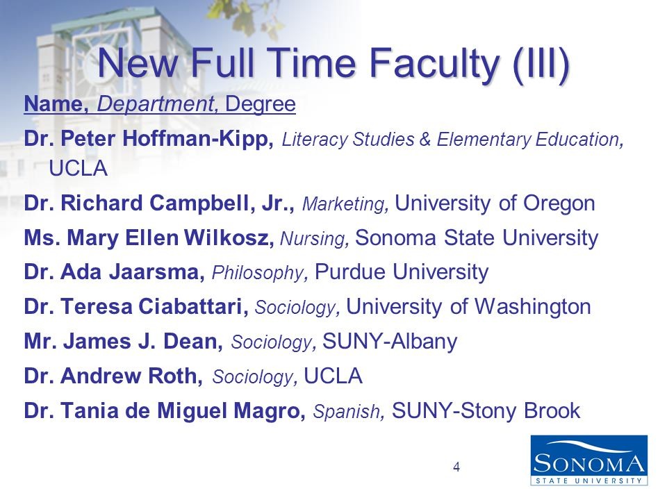 4 New Full Time Faculty (III) Name, Department, Degree Dr.