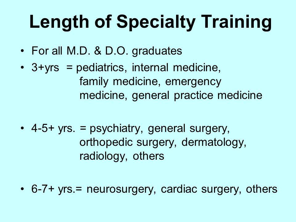 Length of Specialty Training For all M.D. & D.O. graduates 3+yrs = pediatrics, internal medicine, family medicine, emergency medicine, general practic