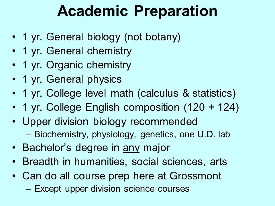 Academic Preparation 1 yr. General biology (not botany) 1 yr.