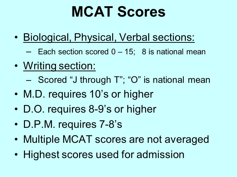 MCAT Scores Biological, Physical, Verbal sections: – Each section scored 0 – 15; 8 is national mean Writing section: –Scored J through T ; O is national mean M.D.
