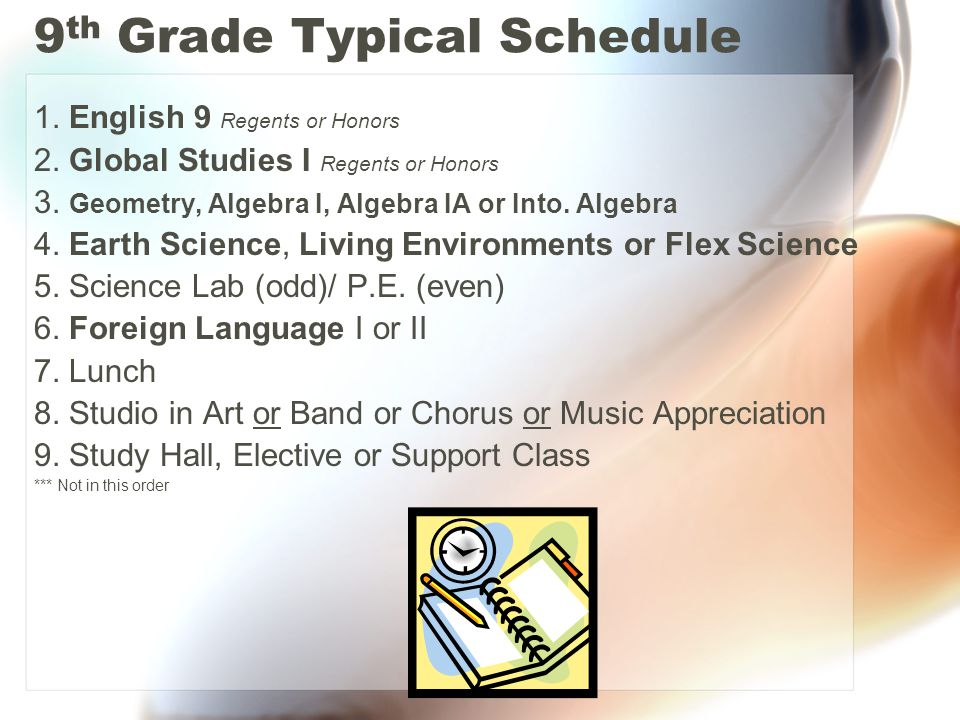 9 th Grade Typical Schedule 1. English 9 Regents or Honors 2.