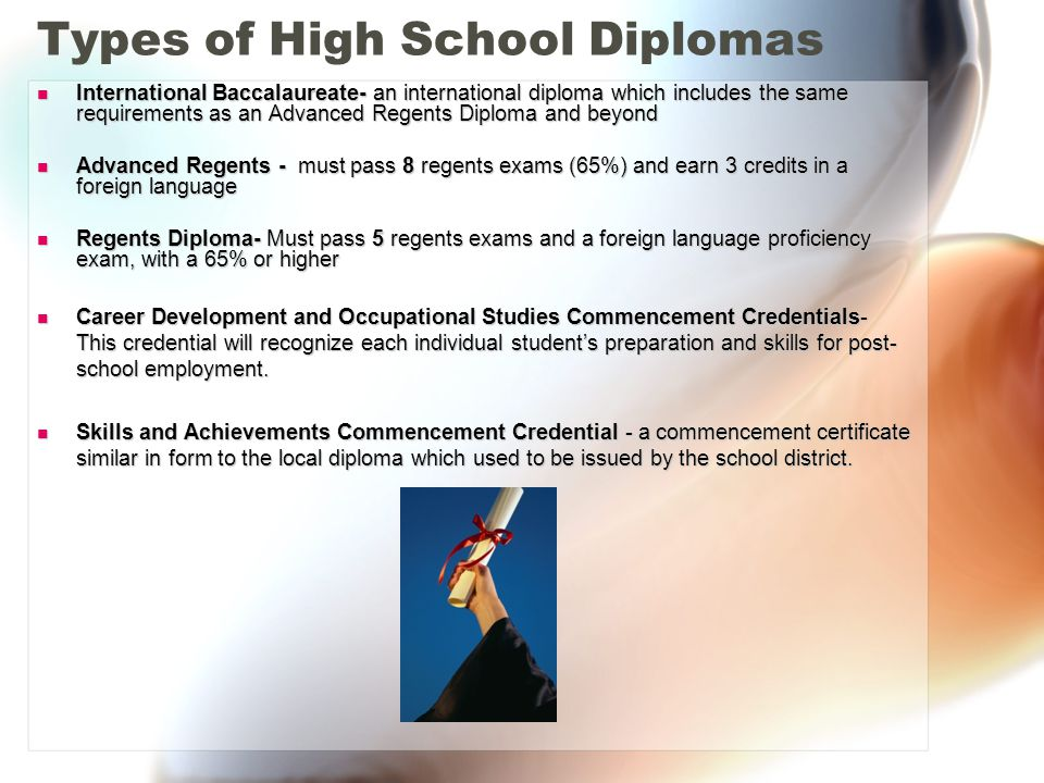 Regents Diploma Must pass five Regents exams and a foreign language proficiency exam with a 65% or higher Regents ExamsRegents Exams –Comprehensive English (11 th grade) –American History and Government (11 th grade) –Global Studies (10 th grade) –Algebra (8 th, 9 th, 10 th or 11 th grade) –Living Environment or Earth Science (9 th grade) * Proficiency Exam or completion of Level 1 of foreign language (8 th or 9 th grade)