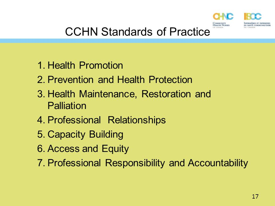 CCHN Standards of Practice 1.Health Promotion 2.Prevention and Health Protection 3.Health Maintenance, Restoration and Palliation 4.Professional Relat