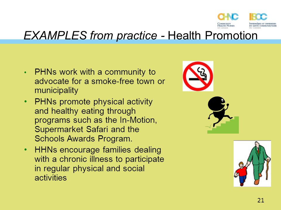 EXAMPLES from practice - Health Promotion PHNs work with a community to advocate for a smoke-free town or municipality PHNs promote physical activity