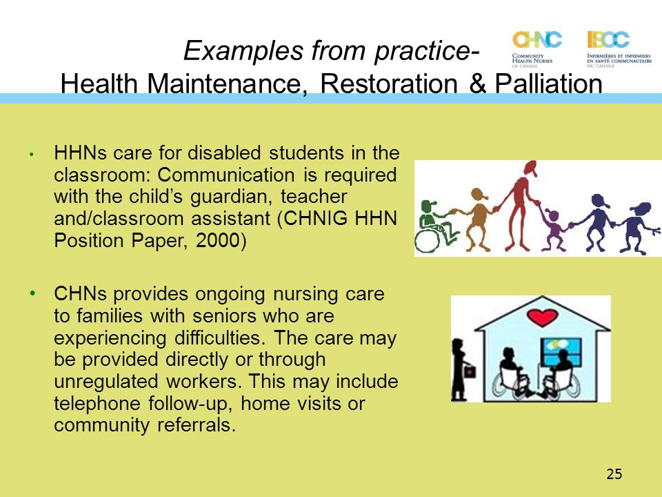 Examples from practice- Health Maintenance, Restoration & Palliation HHNs care for disabled students in the classroom: Communication is required with