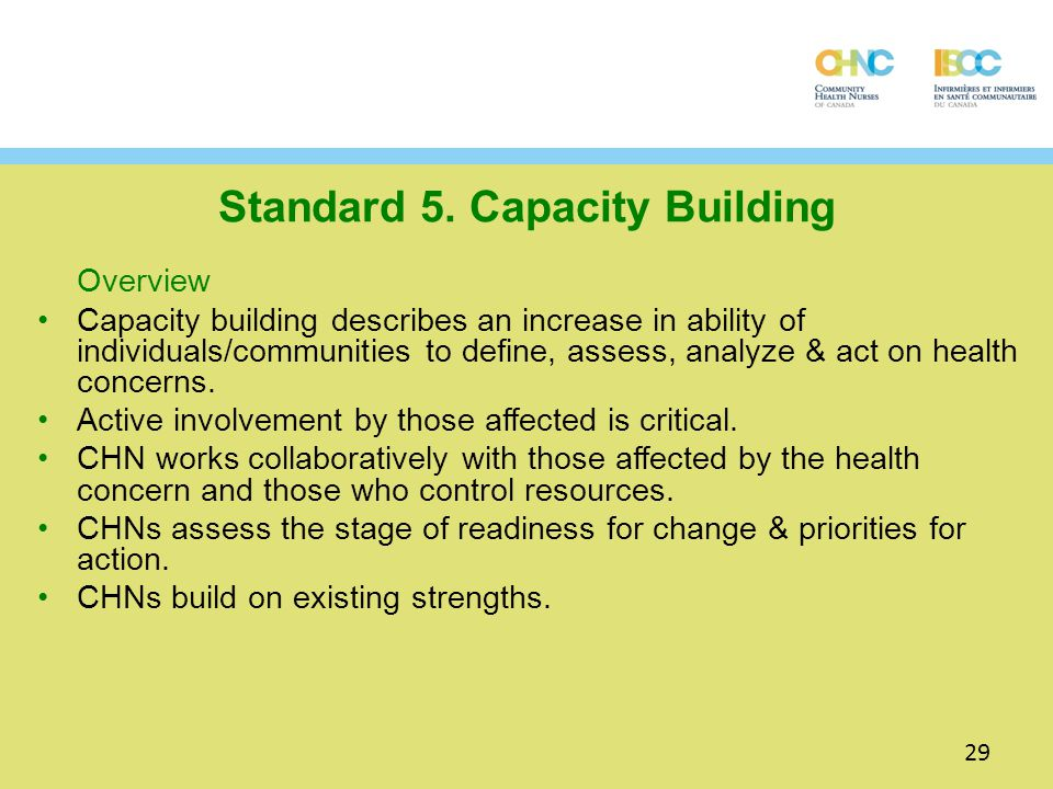Standard 5. Capacity Building Overview Capacity building describes an increase in ability of individuals/communities to define, assess, analyze & act