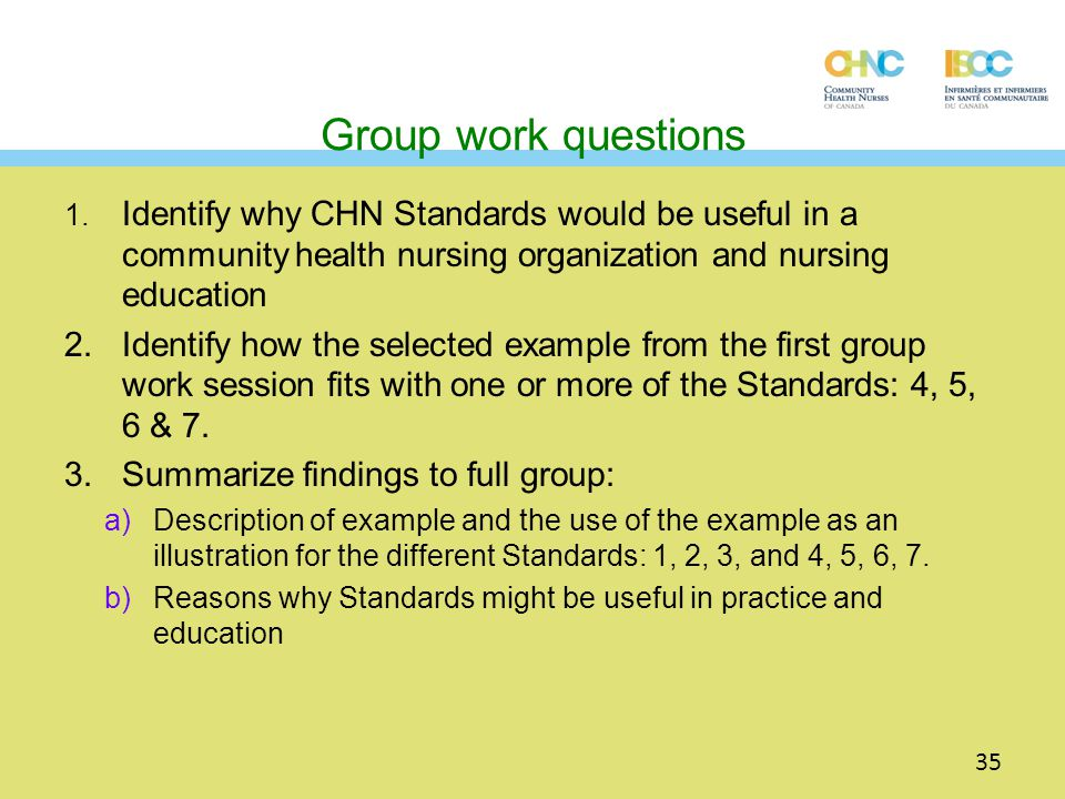 Group work questions 1. Identify why CHN Standards would be useful in a community health nursing organization and nursing education 2.Identify how the