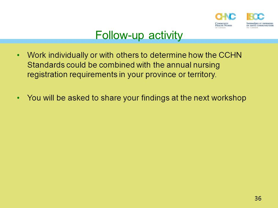 Follow-up activity Work individually or with others to determine how the CCHN Standards could be combined with the annual nursing registration require