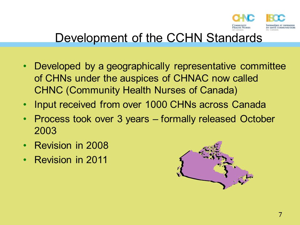Development of the CCHN Standards Developed by a geographically representative committee of CHNs under the auspices of CHNAC now called CHNC (Communit