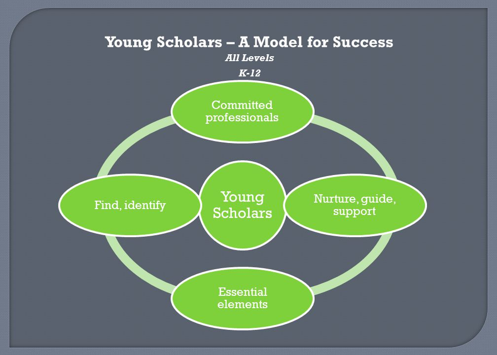 Young Scholars – A Model for Success All Levels K-12 Young Scholars Committed professionals Nurture, guide, support Essential elements Find, identify
