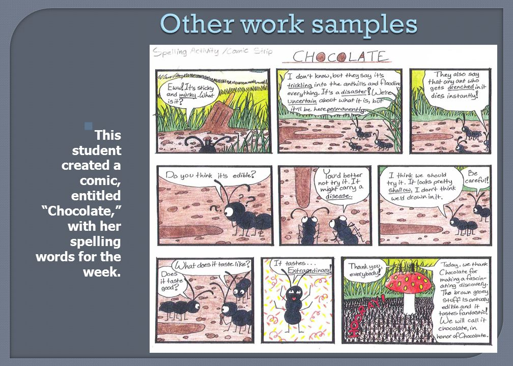 "Other work samples  This student created a comic, entitled ""Chocolate,"" with her spelling words for the week."