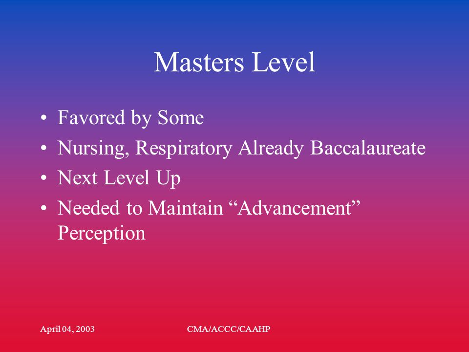 April 04, 2003CMA/ACCC/CAAHP Degree Level Masters Baccalaureate –Pre Existing –Full Program