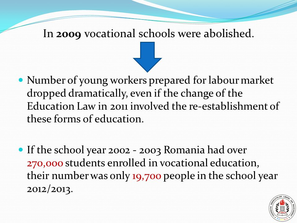 In 2009 vocational schools were abolished.