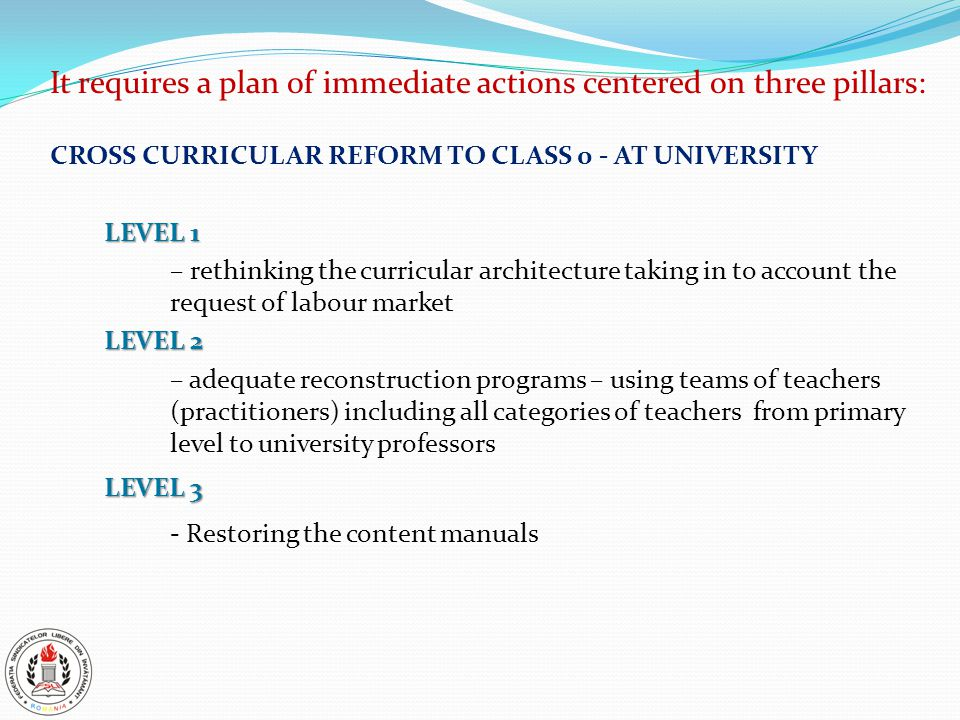 It requires a plan of immediate actions centered on three pillars: CROSS CURRICULAR REFORM TO CLASS 0 - AT UNIVERSITY LEVEL 1 – rethinking the curricular architecture taking in to account the request of labour market LEVEL 2 – adequate reconstruction programs – using teams of teachers (practitioners) including all categories of teachers from primary level to university professors LEVEL 3 - Restoring the content manuals