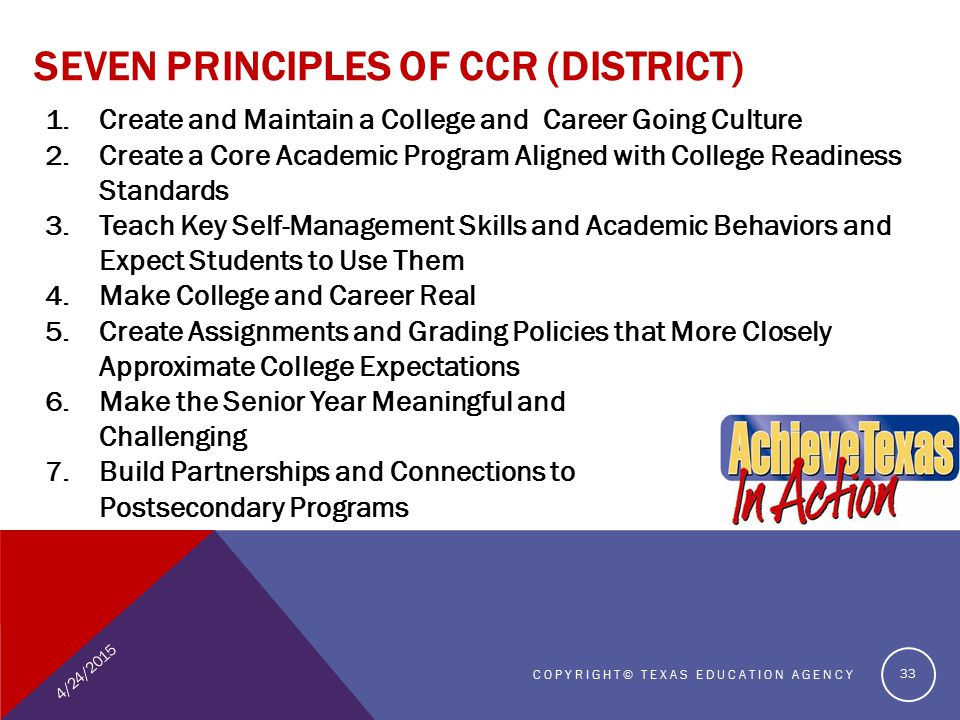 1.Create and Maintain a College and Career Going Culture 2.Create a Core Academic Program Aligned with College Readiness Standards 3.Teach Key Self-Management Skills and Academic Behaviors and Expect Students to Use Them 4.Make College and Career Real 5.Create Assignments and Grading Policies that More Closely Approximate College Expectations 6.Make the Senior Year Meaningful and Challenging 7.Build Partnerships and Connections to Postsecondary Programs SEVEN PRINCIPLES OF CCR (DISTRICT) 4/24/2015 COPYRIGHT© TEXAS EDUCATION AGENCY 33