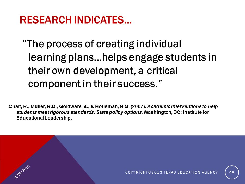 RESEARCH INDICATES… The process of creating individual learning plans…helps engage students in their own development, a critical component in their success. Chait, R., Muller, R.D., Goldware, S., & Housman, N.G.