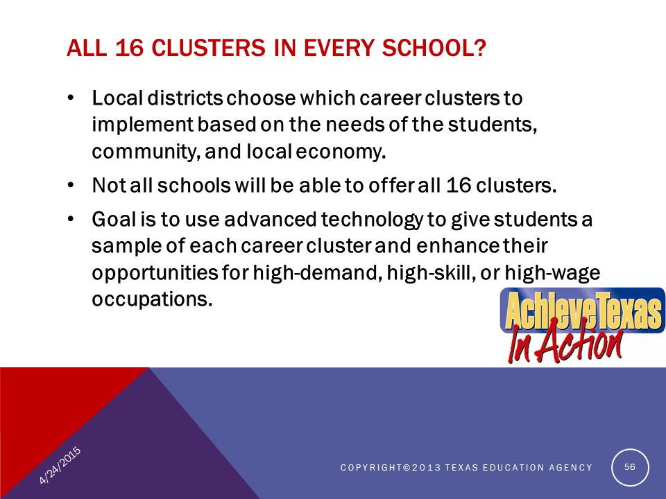 Local districts choose which career clusters to implement based on the needs of the students, community, and local economy.