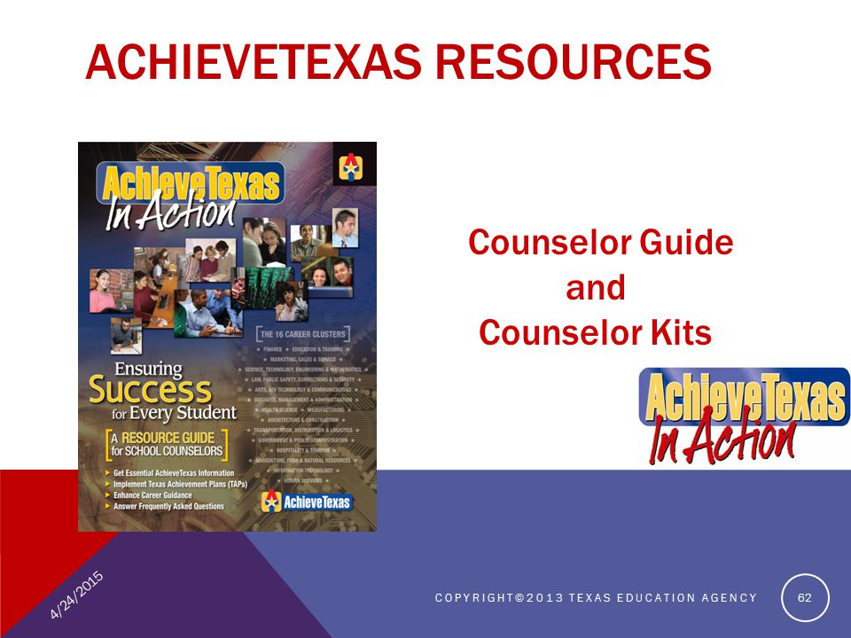 4/24/2015 COPYRIGHT©2013 TEXAS EDUCATION AGENCY 62 ACHIEVETEXAS RESOURCES Counselor Guide and Counselor Kits