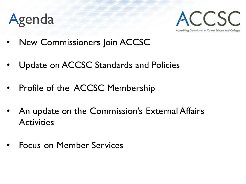 New Commissioners Join ACCSC