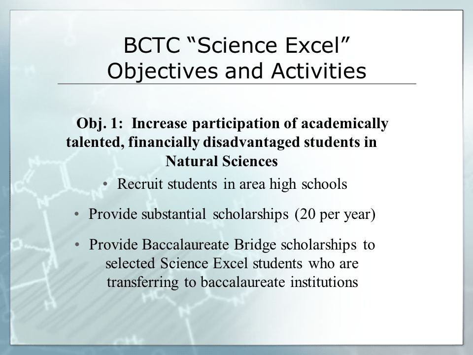 BCTC Science Excel Objectives and Activities Obj.