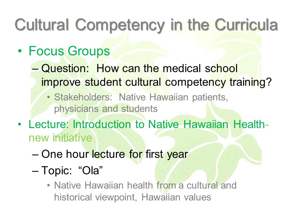 Cultural Competency in the Curricula Focus Groups –Question: How can the medical school improve student cultural competency training.