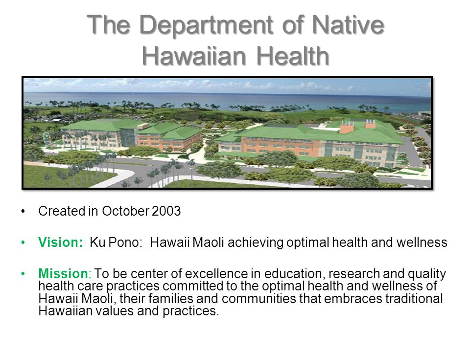 The Department of Native Hawaiian Health Created in October 2003 Vision: Ku Pono: Hawaii Maoli achieving optimal health and wellness Mission: To be center of excellence in education, research and quality health care practices committed to the optimal health and wellness of Hawaii Maoli, their families and communities that embraces traditional Hawaiian values and practices.