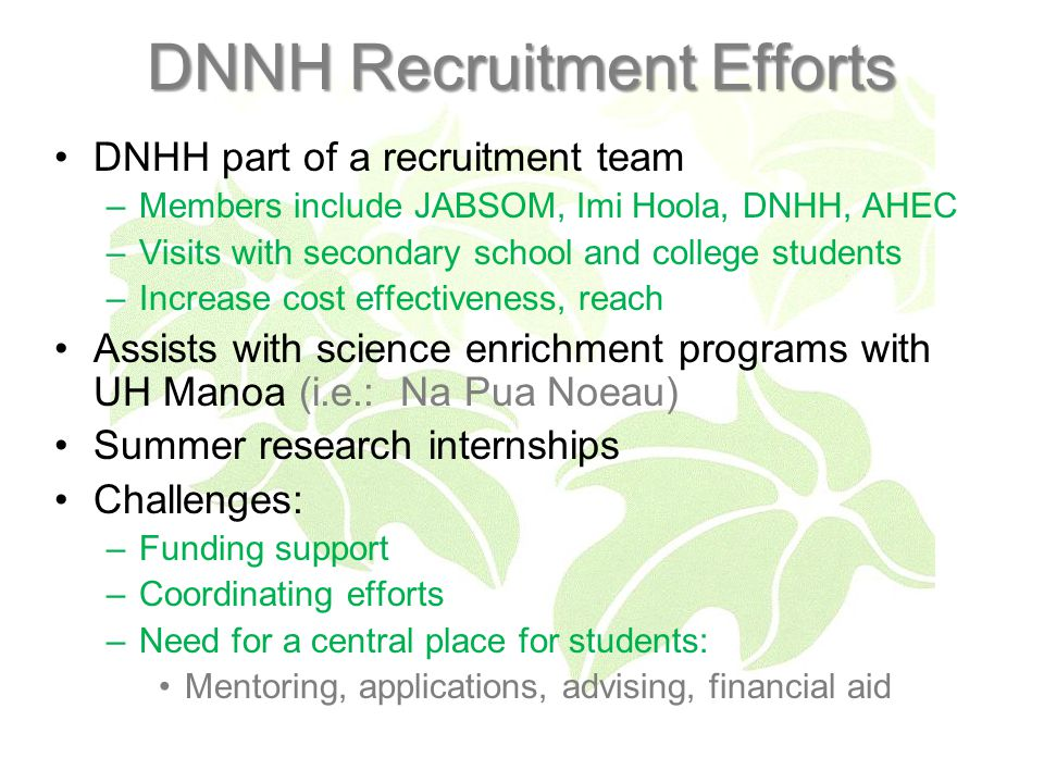 DNNH Recruitment Efforts DNHH part of a recruitment team –Members include JABSOM, Imi Hoola, DNHH, AHEC –Visits with secondary school and college students –Increase cost effectiveness, reach Assists with science enrichment programs with UH Manoa (i.e.: Na Pua Noeau) Summer research internships Challenges: –Funding support –Coordinating efforts –Need for a central place for students: Mentoring, applications, advising, financial aid