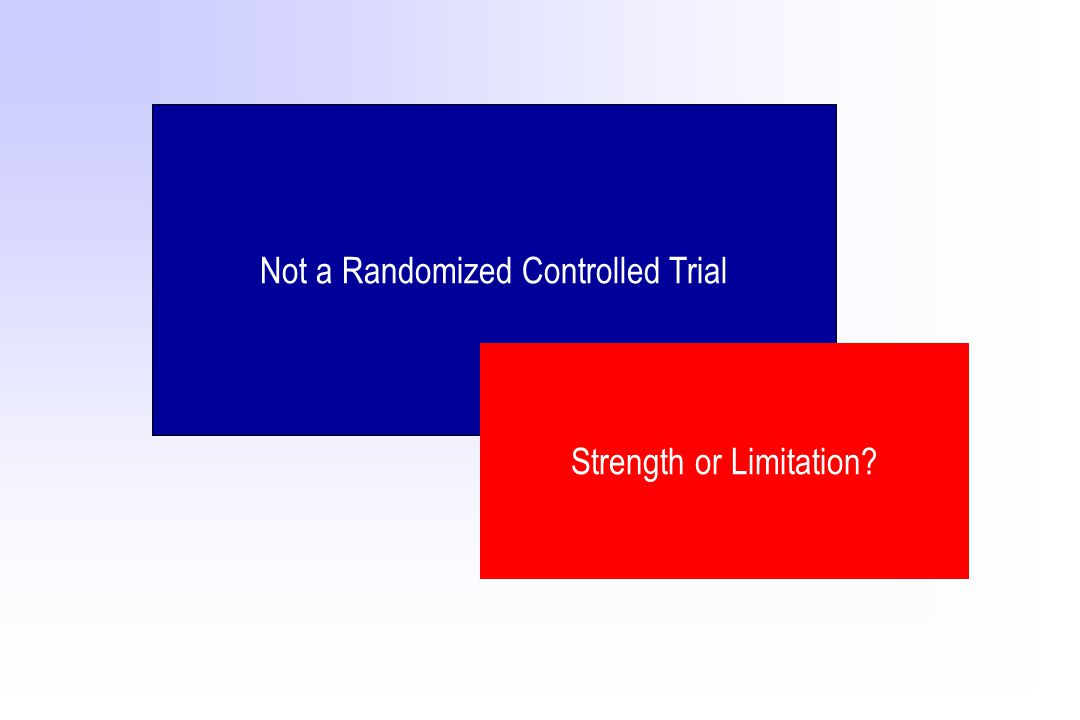 Not a Randomized Controlled Trial Strength or Limitation