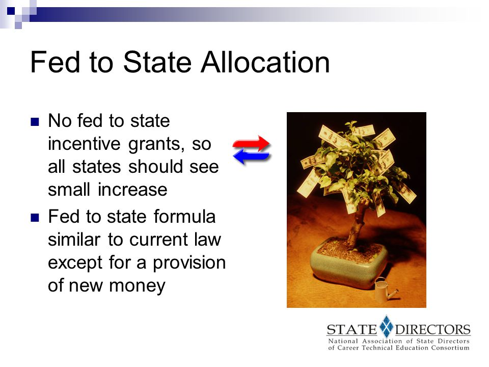 New Money Provision Small states would receive 1/3 of the new funds until they have reached the small state minimum  States furthest away from getting their ½% would receive money first Remaining 2/3rds would go out under the current law formula Formula applies to funds that were previously used for incentive grants