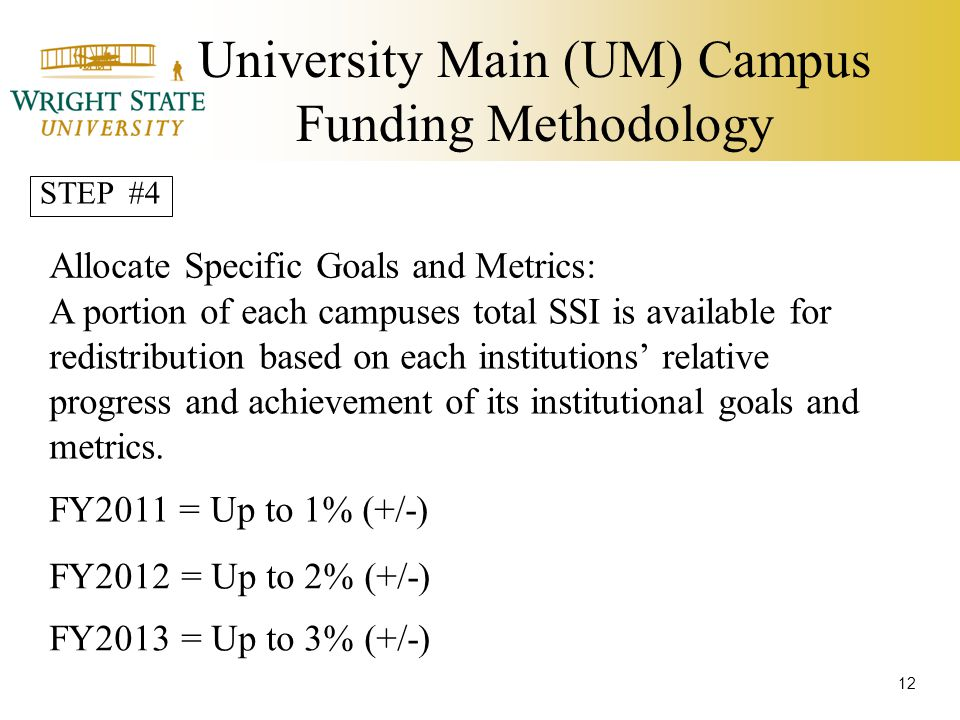 University Main (UM) Campus Funding Methodology Allocate Specific Goals and Metrics: A portion of each campuses total SSI is available for redistribution based on each institutions' relative progress and achievement of its institutional goals and metrics.