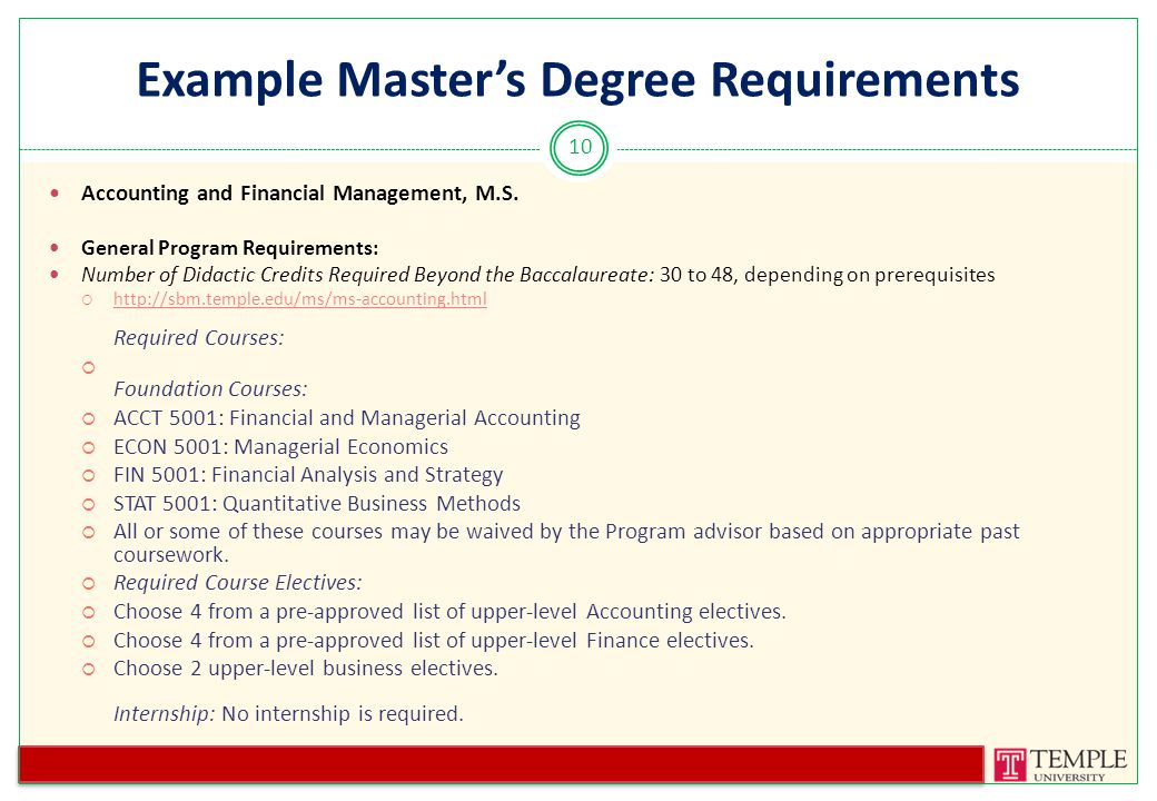 Example Master's Degree Requirements Accounting and Financial Management, M.S.
