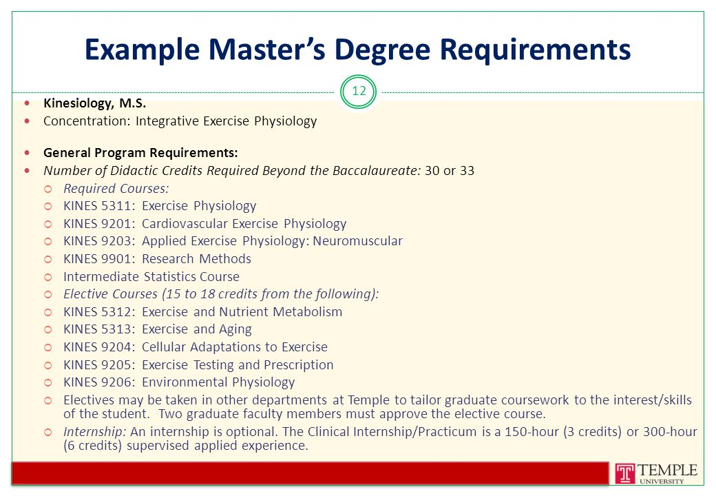 Example Master's Degree Requirements Kinesiology, M.S.