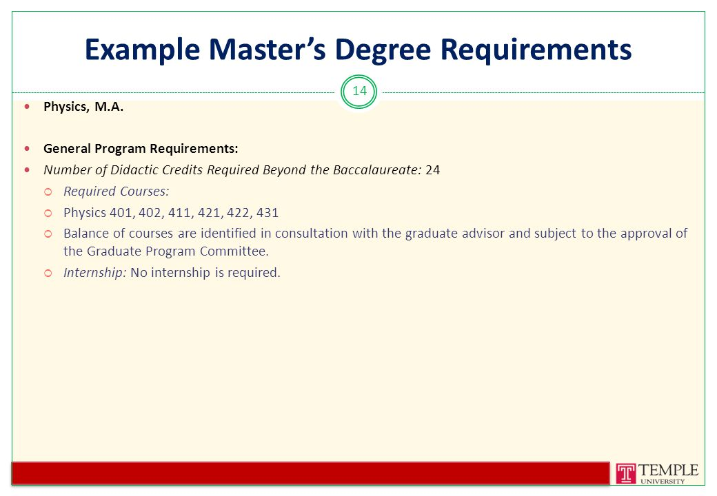 Example Master's Degree Requirements Physics, M.A.