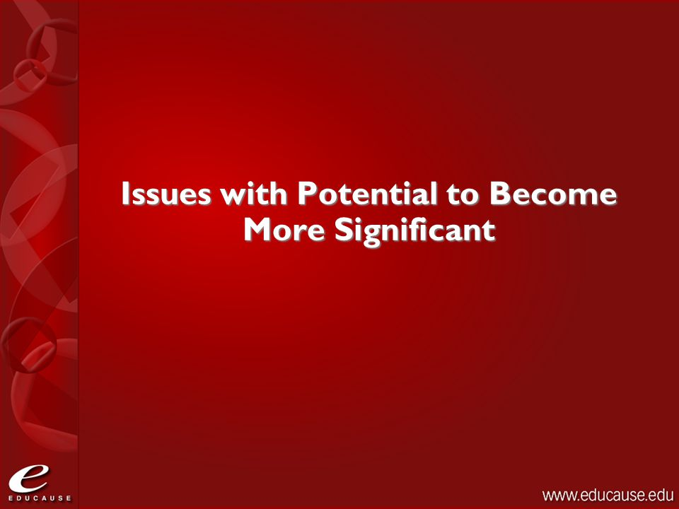 Issues with Potential to Become More Significant